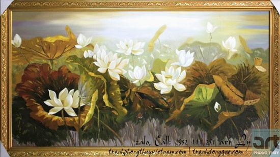 tranh sơn dầu vẽ đầm sen trắng