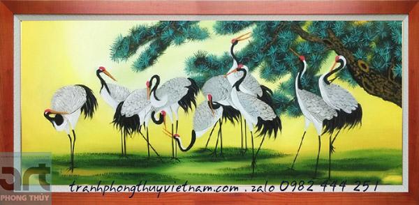 tranh vẽ đàn chim hạc và cây tùng
