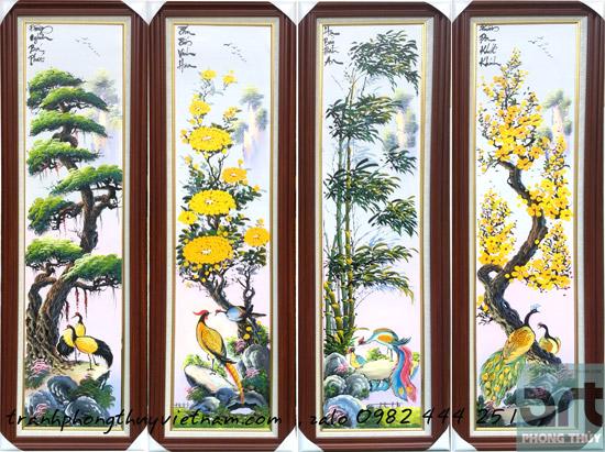 bộ tranh tứ quý tùng cúc trúc mai đẹp treo phòng khách