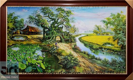 bức tranh vẽ làng quê màu sơn dầu đẹp nhất