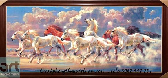 tranh ngựa chạy trên mây trời