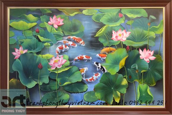 bức tranh cửu ngư quần hội trong đầm hoa sen
