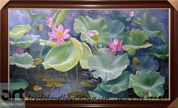 bức tranh đầm hoa sen
