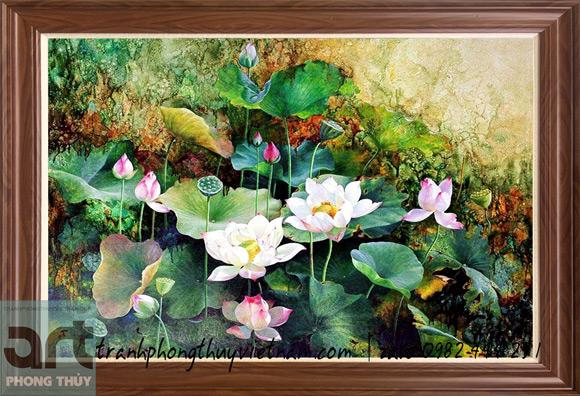 bức tranh hoa sen đẹp và sang trọng