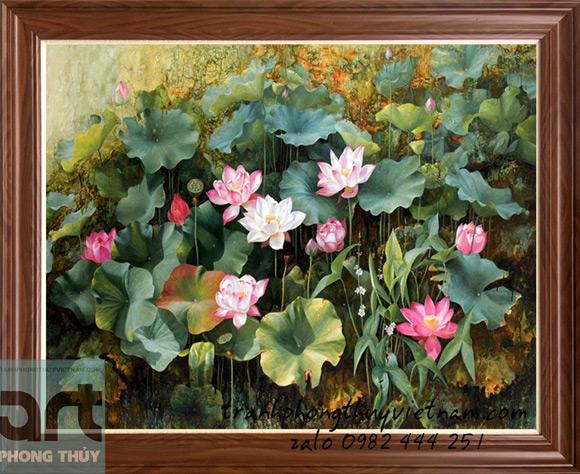 bức tranh sơn dầu hoa sen nghệ thuật