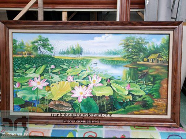 bức tranh vẽ đầm hoa sen