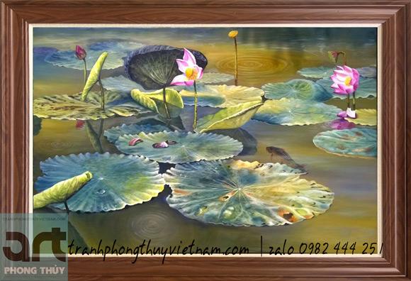 bức tranh vẽ đầm hoa sen đẹp nhất