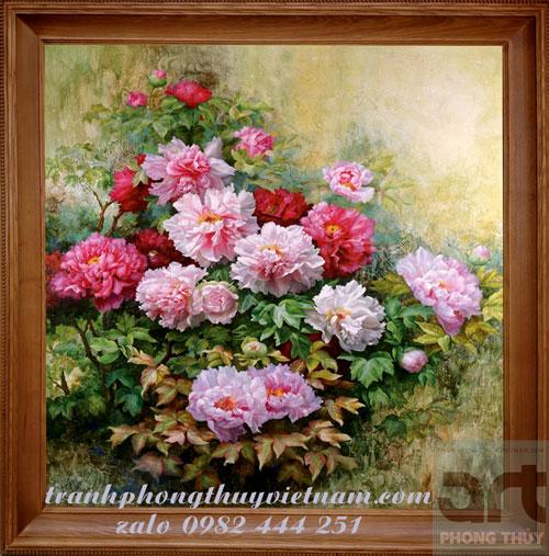 bức vẽ hoa mẫu đơn màu sơn dầu