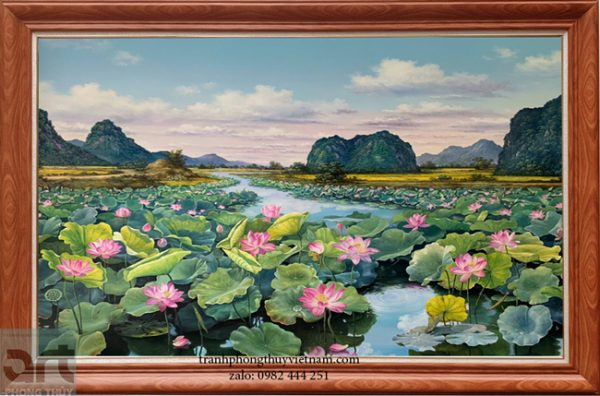 bức vẽ phong cảnh đầm hoa sen đẹp
