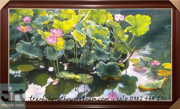 bức vẽ phong cảnh đầm hoa sen