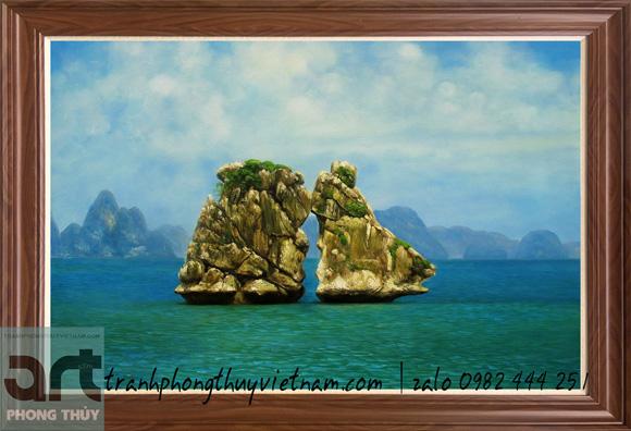 tranh phong cảnh vẽ hòn trống mái vịnh hạ long