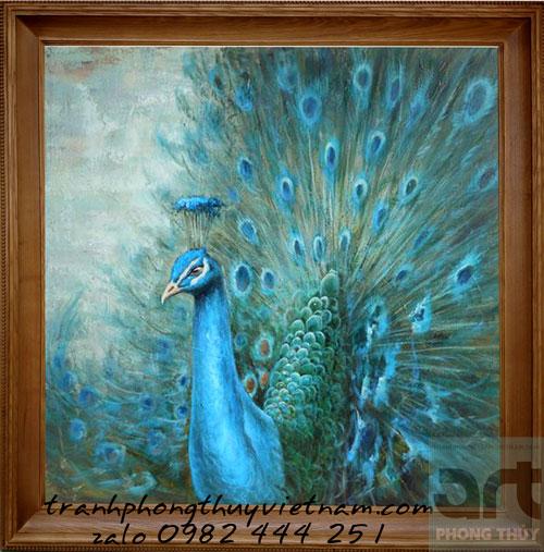 tranh sơn dầu chim công đẹp treo trang trí