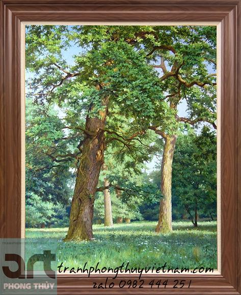 tranh sơn dầu phong cảnh rừng cây đẹp