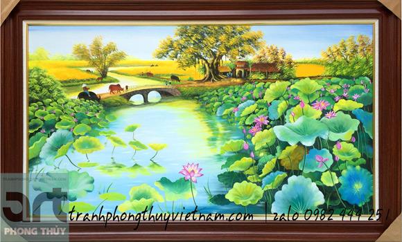 tranh vẽ đầm hoa sen