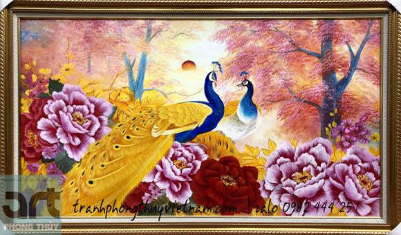 bức tranh phong thủy chim công và hoa mẫu đơn treo trang trí