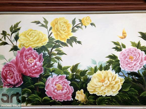 hoa mẫu đơn tranh phong thủy