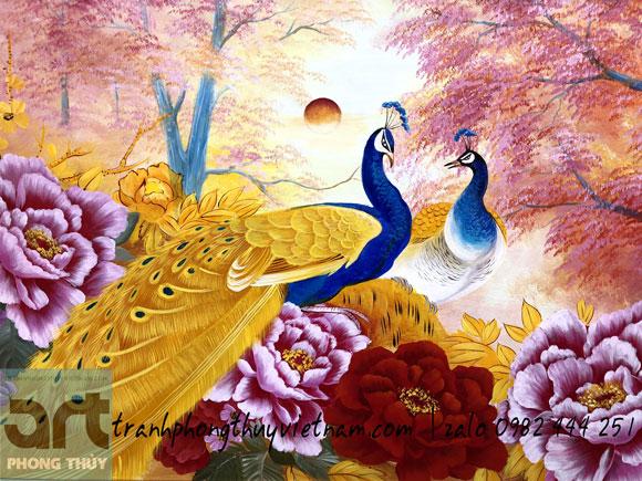 tranh phong thủy vẽ đôi chim công