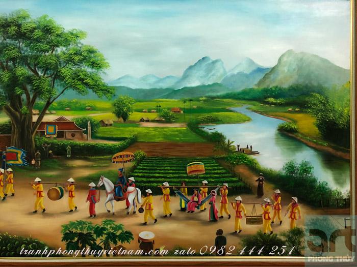 tranh vinh quy bái tổ được họa sĩ vẽ bằng màu sơn dầu