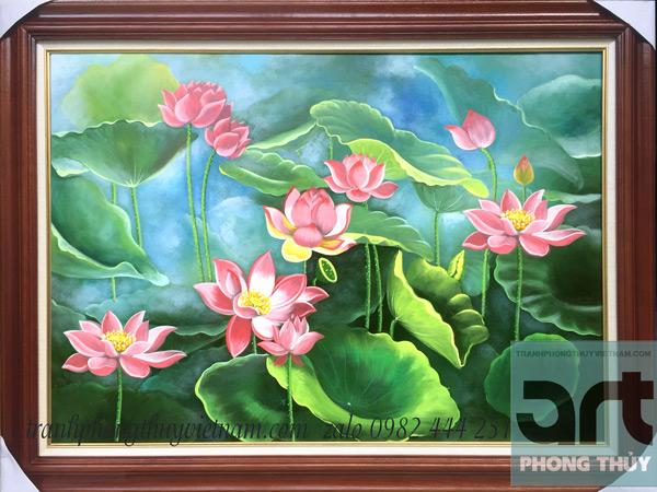 tranh hoa sen hồng