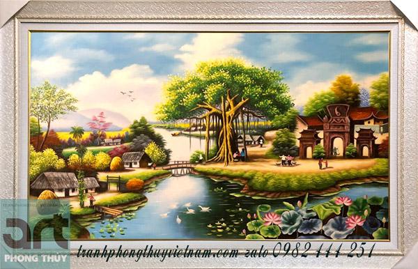 tranh làng quê mang vẻ đẹp thanh bình