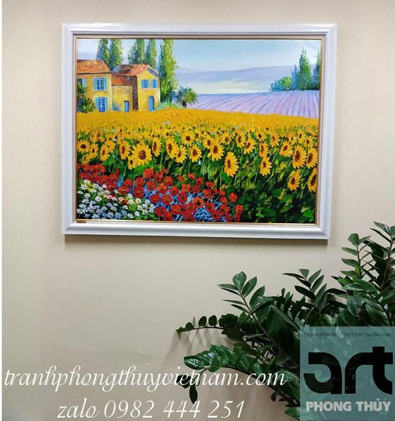 tranh phong cảnh hoa hướng dương đẹp treo trang trí