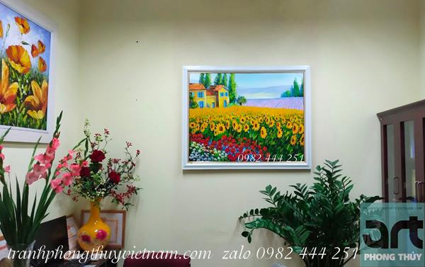 tranh phong cảnh hoa hướng dương treo phòng làm việc