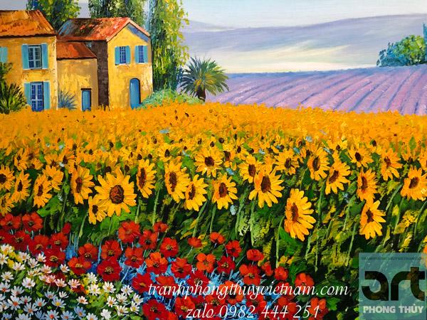 tranh sơn dầu phong cảnh vẽ cánh đồng hoa hướng dương