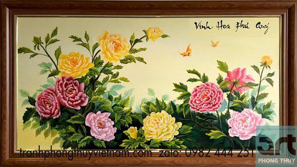 Tranh phong thủy hoa mẫu đơn Vinh Hoa Phú Quý