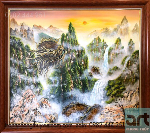 tranh phong thủy rồng cuộn mây núi kích hoạt tài lộc