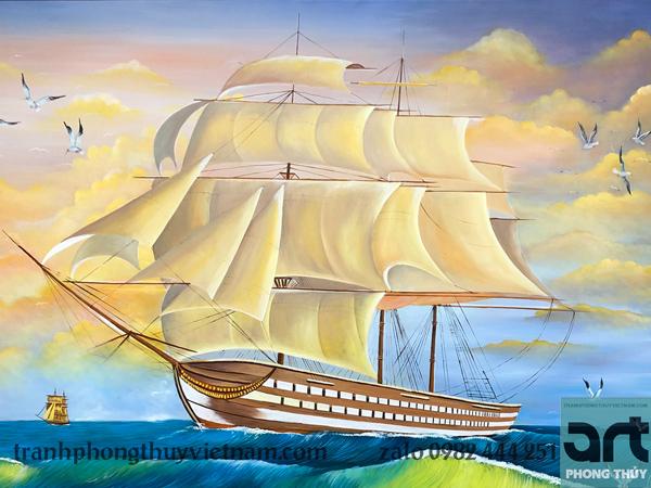 tranh vẽ thuyền buồm