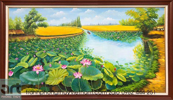 tranh hoa sen treo tường
