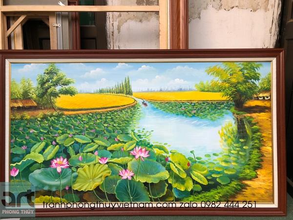 xưởng vẽ tranh hoa sen tại hà đông hà nội