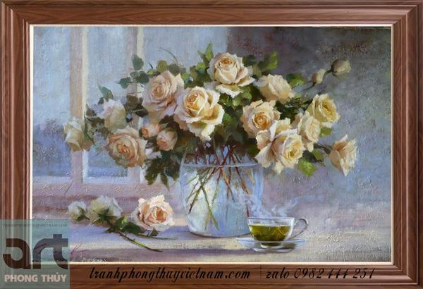 bức tranh sơn dầu hoa hồng