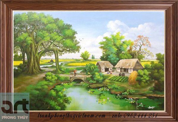 tranh phong cảnh quê hương thanh bình