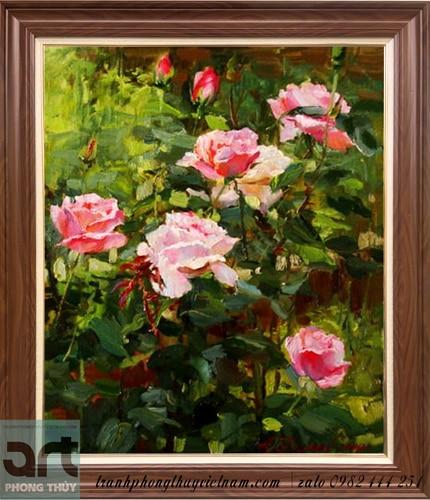 tranh sơn dầu hoa hồng đỏ