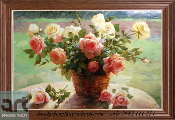 tranh sơn dầu vẽ hoa hồng đẹp