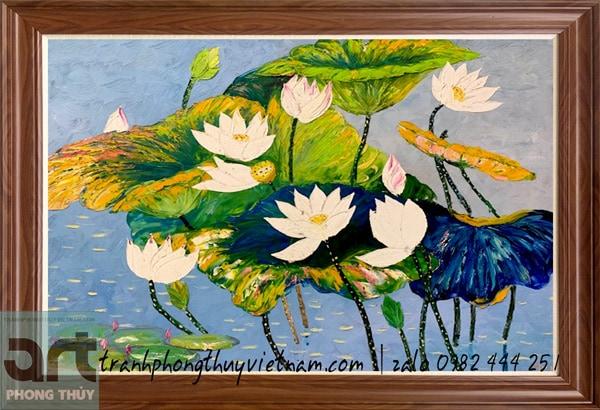 tranh hoa sen nghệ thuật đắp bay