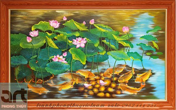 tranh phong thủy cửu ngư hoa sen