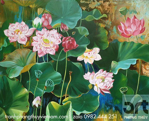 tranh phong thủy hoa sen nghệ thuật