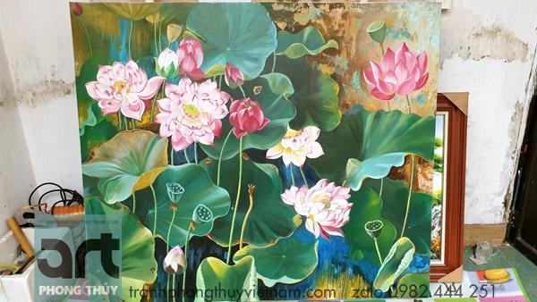 xưởng vẽ tranh hoa sen nghệ thuật