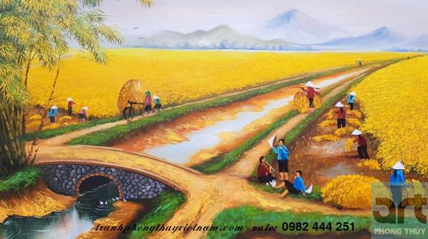 cảnh gặt lúa trong tranh đồng quê