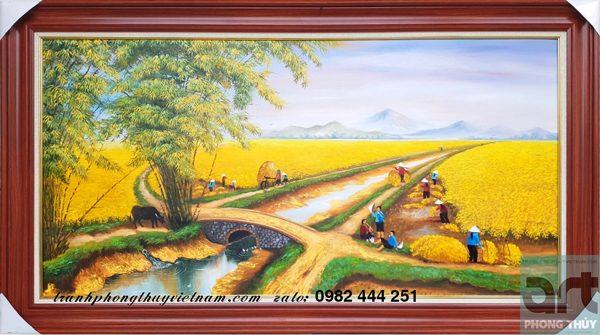 tranh đồng quê vẽ cảnh mùa gặt lúa