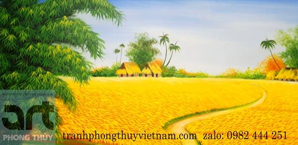 cánh đồng lúa chín trong tranh đồng quê