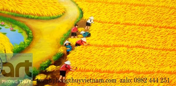 cảnh gặt lúa ngày vụ mùa