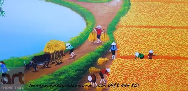 khung cảnh gặt lúa trong tranh đồng quê