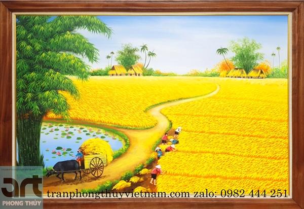 tranh đồng quê cánh đồng lúa chín