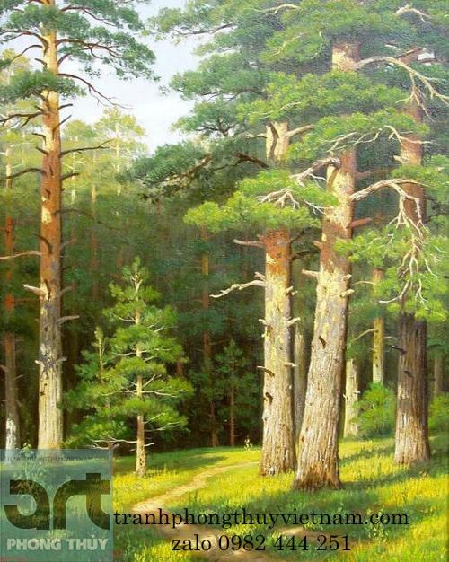 tranh phong cảnh rừng cây chất liệu sơn dầu