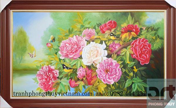 tranh phong thủy vẽ hoa mẫu đơn chất liệu sơn dầu