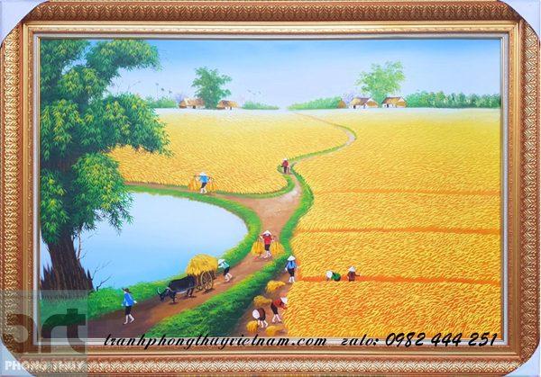 tranh sơn dầu đồng quê vẽ cánh đồng mùa lúa chín