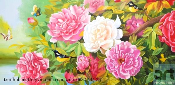 tranh vẽ hoa mẫu đơn phong thủy